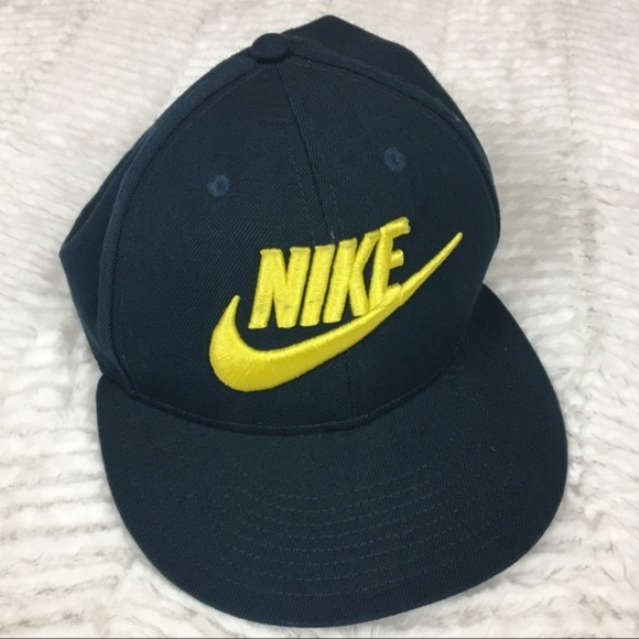 Nike Other - Nike True Wool Snapback Hat Spell Out Swoosh Navy
